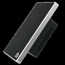 Công Tắc Cảm Ứng Có Phản Hồi SmartZ 2 nút SW100V.2 - Màu đen viền bạc