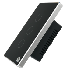 Công Tắc Cảm Ứng Có Phản Hồi SmartZ 3 nút SW100V.3 - Màu đen viền bạc