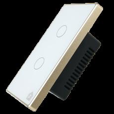 Công Tắc Cảm Ứng Có Phản Hồi SmartZ 2 nút SW100V.2 - Màu trắng Viền vàng